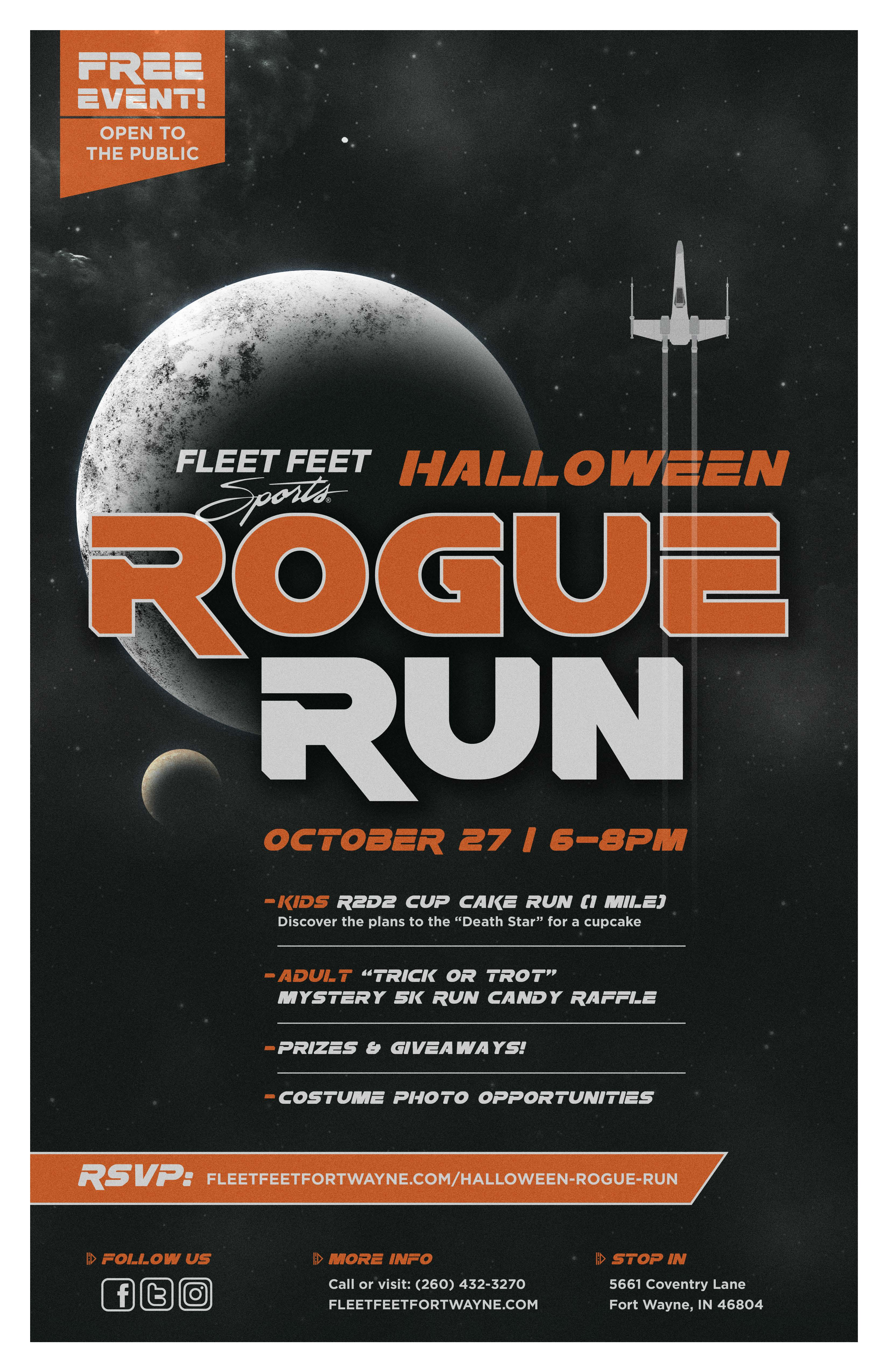 Fleet Feet Sports Fort Wayne Rogue Run Halloween Fun Run Poster